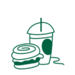 Illustration of a sandwich and a frappe cup
