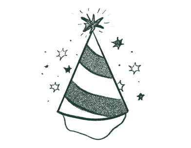 Illustration of Birthday hat with green and white swirls and a star at the top point