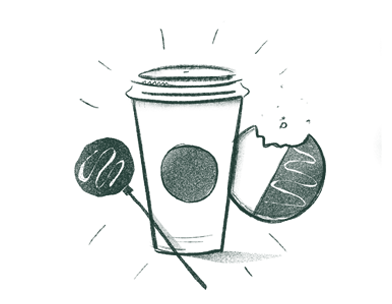 Illustration of a Starbucks cup, a cake pop and a cookie with a bite in it