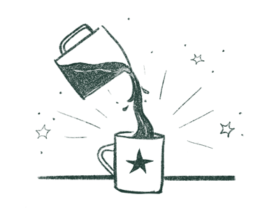 Illustration of coffee being poured into a mug with a green star on it