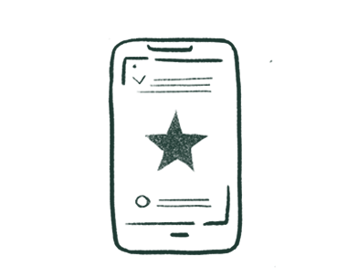 Illustration of a smartphone with a green star on screen